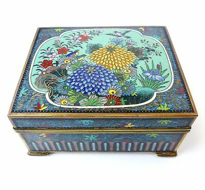 Vintage Small Japanese Cloisonne Enamel Box Fine Detail Unsigned *as Found*