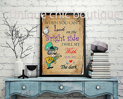 Disney Alice in wonderland wall art quote print poster A4 madhatter