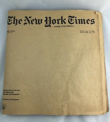 Vintage Braille Edition The New York Times Large Type Weekly 1988