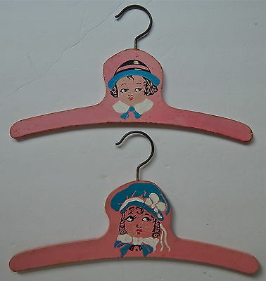 """2 VINTAGE Wooden Childs Clothes Hangers, 12"""" Long"""