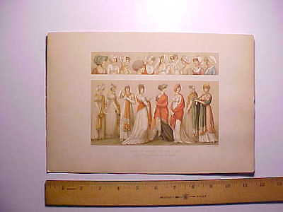 Antique French Color Lithograph Ladies Fashions 1800 To 1810 Exquisite Detail
