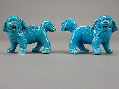 Pair of Chinese Pair Blue Glaze Porcelain  Foo Dogs 3 inches