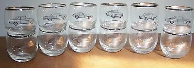 Vintage Rare 1963 Chevrolet Dealer Bar Glasses Set Of 12 Corvette Chevy Corvair