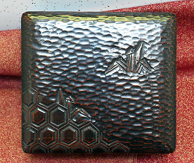 Japanese style Lacquer Box wood, carved texture, water and crane motif