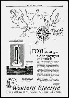 1927 WESTERN ELECTRIC TELEPHONE BELL SYSTEM Magnet Compass CANDLESTICK PRINT AD