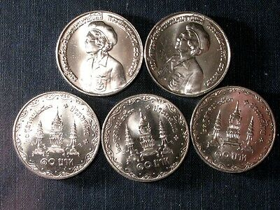 THAILAND. UNC Coins. 10-BAHT  LOT of 5 COINS.