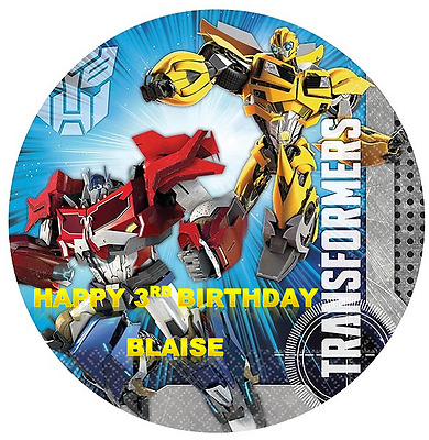TRANSFORMERS Personalised Edible Icing Round Cake Topper Decoration Images