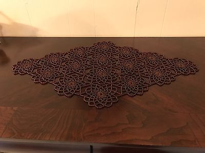 Brown Crochet Beaded Doily,Table Toppers