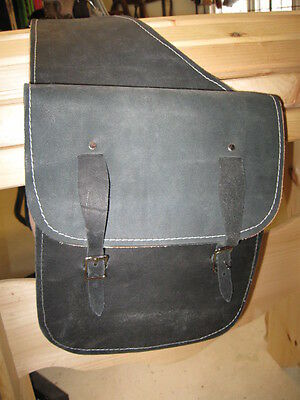 NEW Used Tack Saddle Bags leather rough out, Western gift, Black Motorcycle bags