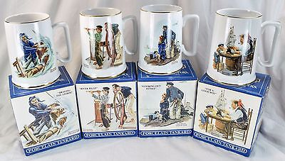Set of 4 Norman Rockwell Porcelain Tankard Mug Seafarers Collection