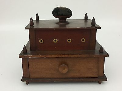 Antique 2 Tier New England Shaker Sewing Spool Thread Caddy Pincushion 1800's