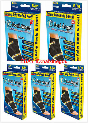 Foot Angel Anti Fatigue Compression 5 Pair Ankle Swelling Plantar Relief S/M-LXL