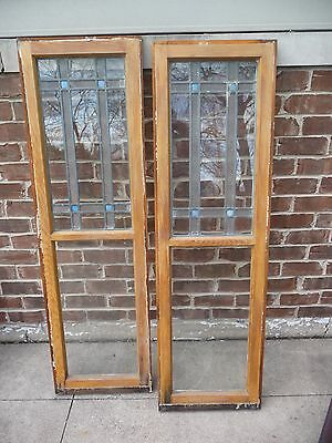 Set 2  Antique Chicago Bungalow Style Stained Leaded Glass Windows 1920s Vintage
