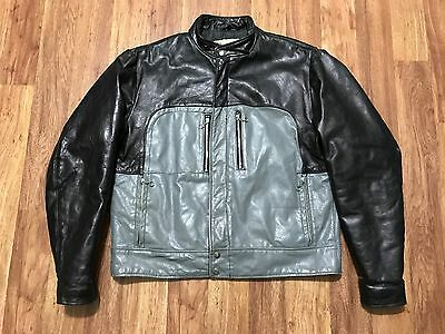 Vtg 80s Perfecto Schott Cafe Racer 4 Pocket 2-Tone Leather Motorcycle Jacket 46