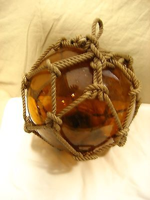 "Amber color Glass Fishing Float with netting 8"" diameter"