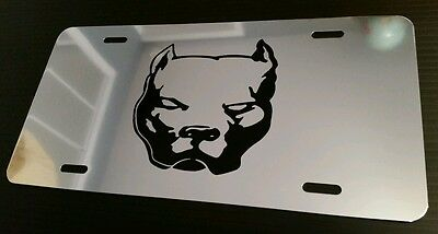PIT BULL Mirror License Tag car plate METAL aluminum apbt NEW k9 dog pet bully