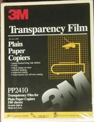 Transparency Film For Plain Paper Copiers 100 Sheets P/N: PP2410 A 3M Company