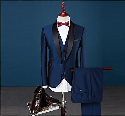 New Silm Fit Peak Lapel Best Man Suit Blue Groomsman Men's Wedding/Prom Suits