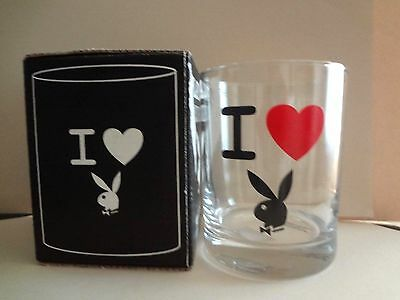 2000 HOT TOPIC Playboy BUNNY CLASSIC DOF Glass Old Fashioned I LOVE PLAYBOY 4""