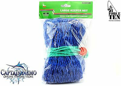 Live Bait Fish Keeper Net Large Blue Force Ten Tackle Fishing Nets M8757