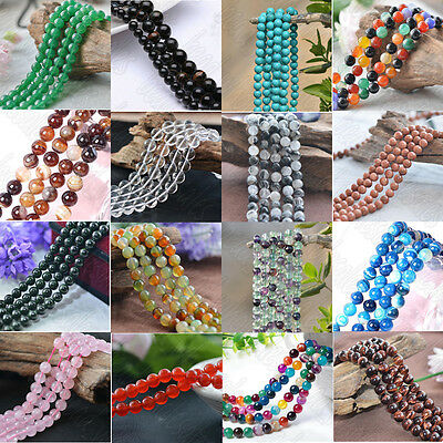 """Wholesale 8mm Natural Gemstone Stone Round Spacer Loose Beads Jewelry 15.5"""""""