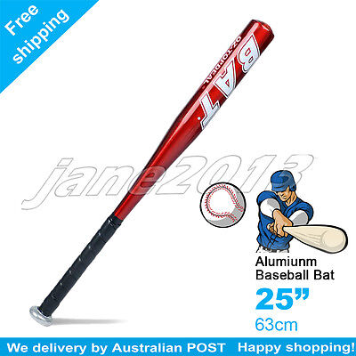 "Red-Brand New 25"" 63cm Aluminium Baseball Bat Racket Softball Outdoor Sports"