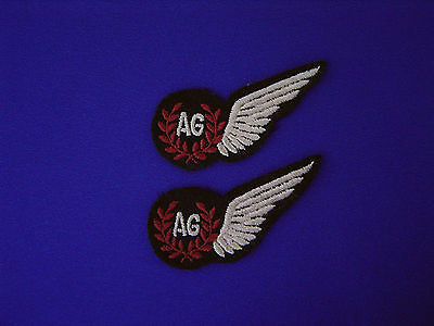 2  Wwii Raf Original Embroidered Air Gunner Ag Cloth Wing Badge Brevet Ex. Cond.