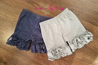 Clearance! GIRL DOUBLE RUFFLE SHORTS, DENIM AND GRAY COLORS