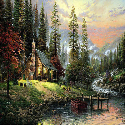 """16X20"""" DIY Paint By Number Lino pintura óleo lienzo The Cabin In The Woods"""