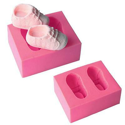 Baby Shoes Fondant Silicone Mould Icing Cake Chocolate Bake Soap Mold B