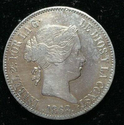 1868 Isabel 2A 50 centavos Spain-Philippines Silver Coin  - lot 11