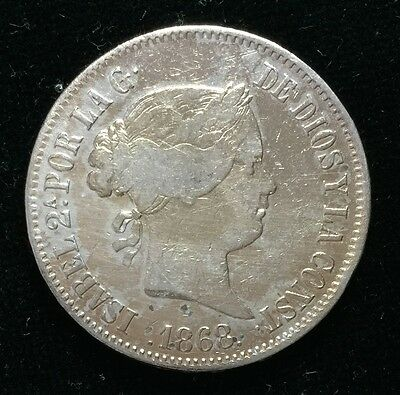 1868 Isabel 2A 50 centavos Spain-Philippines Silver Coin  - lot 15