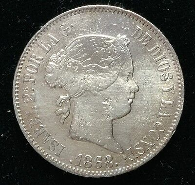 1868 Isabel 2A 50 centavos Spain-Philippines Silver Coin  - lot 17