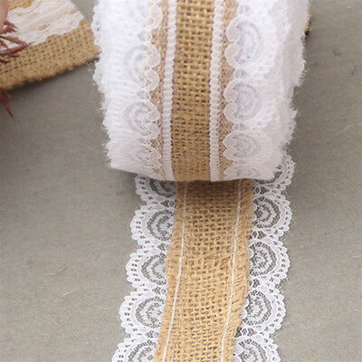10M Natural Jute Burlap Lace Ribbon Roll Vintage Wedding Party Decoration Hot