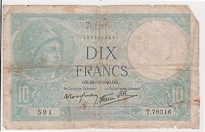 (NI-84) 1916 France 10 frank bank note (space filler) (C)