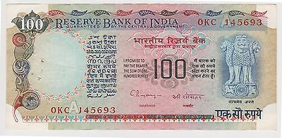 (NI-148) 1979 India 100 rupee bank note (L)