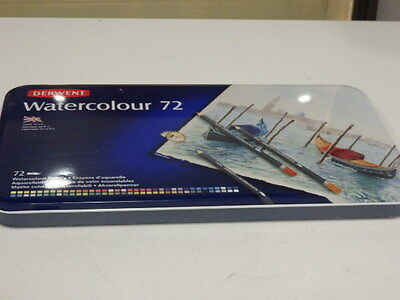 New DERWENT WATERCOLOUR 72 COLOURING PENCILS with Steel Case,Made in the England