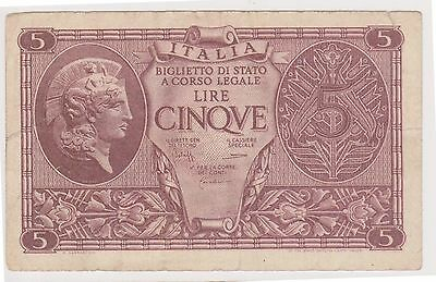 (NI-202) 1944 Italy 5 lire bank note (B)