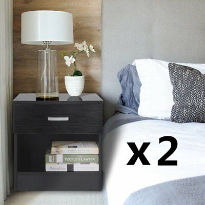 2 X Wooden Bedside Tables With Drawer Nightstand Chest Cabinet Bedroom Furniture