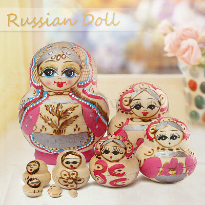 9pcs Wooden Nesting Dolls Matryoshka Madness Russian Doll Children Girl Gift Hot