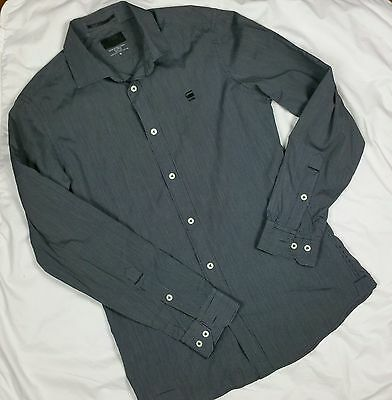 "GSTAR RAW Mens Shirt Size M Black White Pinstripe Long Sleeve ""Correct Line"""