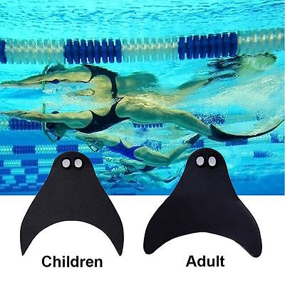 Adult Kids Mermaid Tails Swimming Diving Monofin Swimmable Fin Flippers BLACK