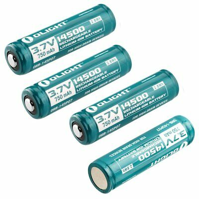 Olight 750mah 14500 3.7v Protected Rechargeable Li-ion Batteries for S1A 4 Pack