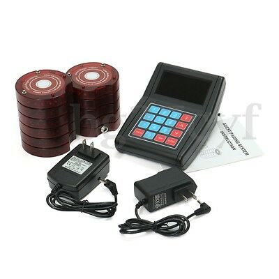 10 Restaurant Coaster Pager Guest Wireless Paging Queuing System + Transmitter