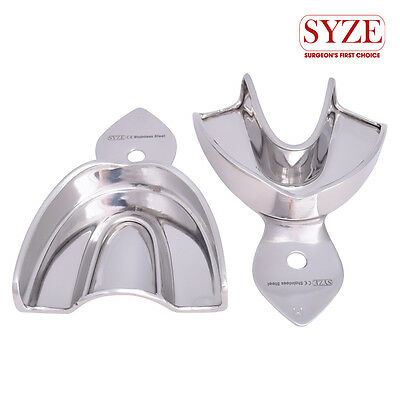 Dental Orthodontic Solid Stainless Steel M Upper and Lower Trays Set of 2Pcs