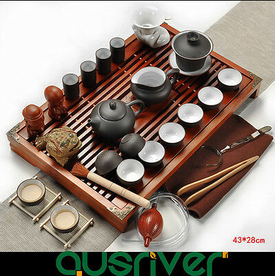 Oriental Tradition Chinese Zisha Tea Set Solid Clay  Wood Kungfu Tea Black/White