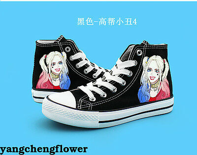 Suicide Squad Harley Quinn High Canvas Shoes Casual Sneakers Boys&Girls Otaku