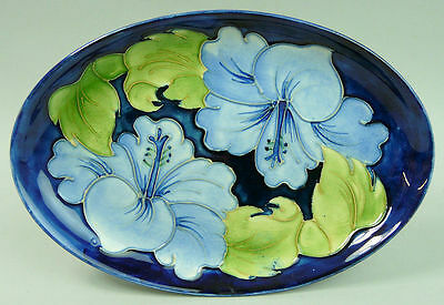 A Fine Moorcroft Art Pottery Oval Trinket Tray 'hibiscus'