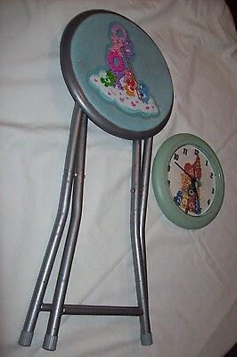 Children's Care Bears Folding Metal Stool * Vintage 2003 * + Wall Clock