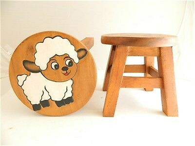 Childs Childrens Wooden Stool - White Sheep Step Stool